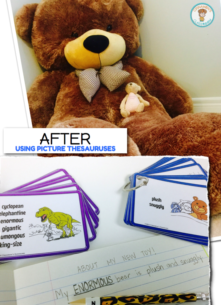 descriptive writing, expand vocabulary, picture thesauruses, synonym cards, enhance writing